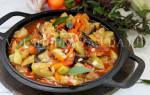 Овощное соте с баклажанами и кабачками